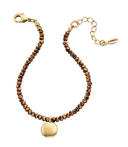 Fiorelli Costume Collection Ladies B4193 Copper Beads Bracelet with Gold Disc Charm Length 19+3cm
