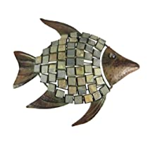 17 Inch Metal & Tile Fish Wall Hanging Art Decor