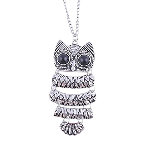 Womens Necklace, Gillberry Lady Women Vintage Silver Owl Pendant Necklace Best Gift For XMAS