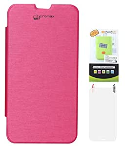 DMG Protective Flip Cover Back Replace Leather Case For Micromax A111 Canvas Doodle (Pink) + 6600 mAh PowerBank + Matte Screen