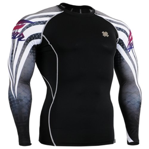 Fixgear Sports Mens Womens Compression Running Base layer T shirt Black S~2XL