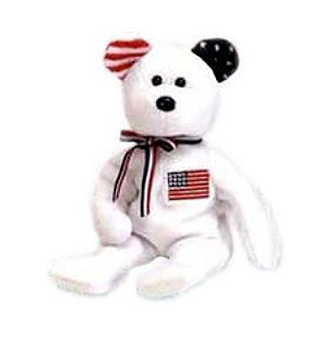 TY Beanie Baby - AMERICA the Bear (White Version - Internet Exclusive) *EARS REVERSED* (8.5 inch) - 1