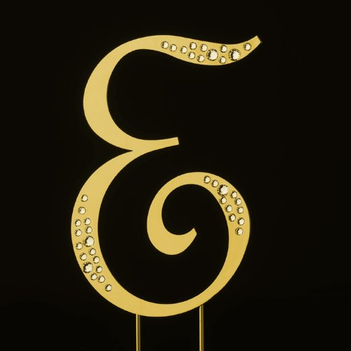 Raebella New York Swarovski Crystal Sparkle Cake Top Topper Gold Letter E (Large) back-844597