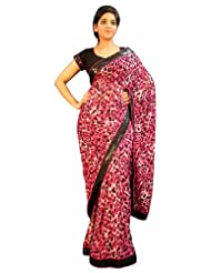 Charming Leopard Digital Printed Designer Saree, Pink