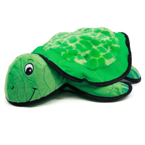 Kyjen 2710 Lil Rippers Turtle Dog Toys Squeaker Toy With Detachable Fetch Shell, Large, Green