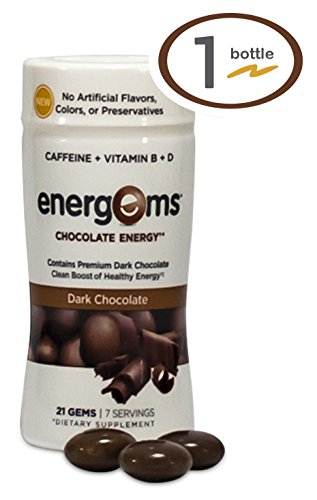 Energems Dark Chocolate Energy Boost with Caffeine, Vitamin B, Vitamin D, Antioxidants, plus L-Theanine- 21 Dietary Supplement Gems (1 Bottle- Dark Chocolate) (Energy Chocolate Chews compare prices)