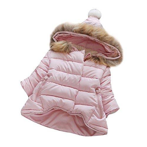 YOUJIA Bambine ragazze Cappotto Imbottito Bambina Giacca Giubbotti Con Cappuccio Pelliccia sintetica (Pink, 90cm)