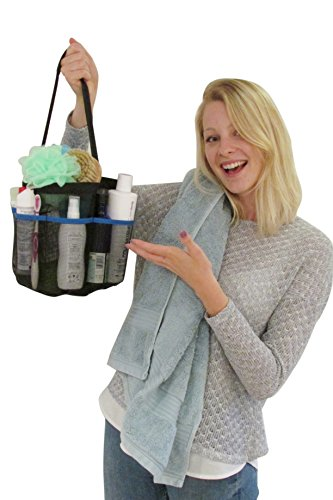 ShowerMade Shower Tote - The Strongest Quick Dry Bag for all your Washroom Accessories - Perfect Hanging Caddy for College, Dorm or Gym - Portable so great for Camping and Travelling - Heavy Duty Coated Mesh Basket- No Metal so Rustproof - Ideal Bath Toy