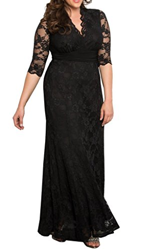 Dilanni-Womens-Plus-Size-V-Neck-12-Sleeves-Evening-Party-Long-Lace-Dresses