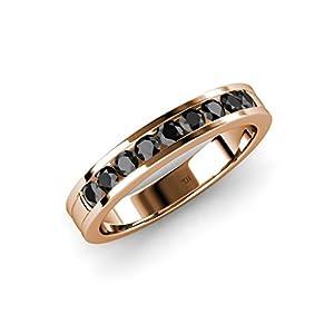 Black Diamond 9 Stone Wedding Band 0.38 ct tw in 14K Rose Gold.size 3.5