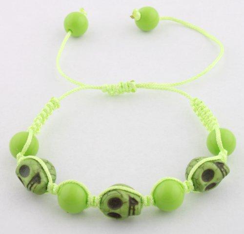 Green Skulls and Beaded Balls Adjustable Bracelet Macrame Shamballah