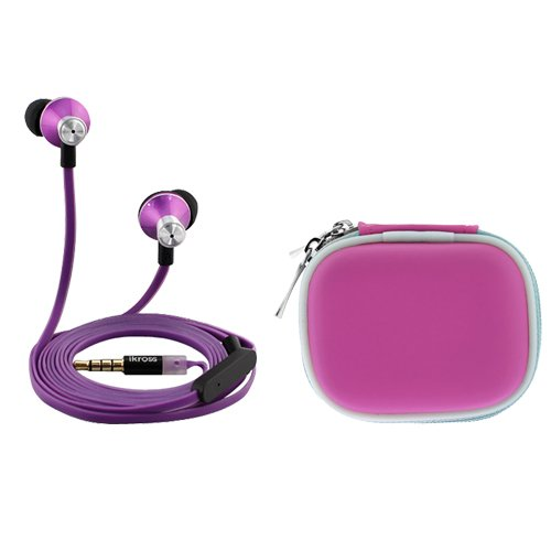 Ikross Purple In-Ear 3.5Mm Noise-Isolation Stereo Earbuds With Microphone + Hot Pink Accessories Carrying Case For Acer Aspire Switch 10, Iconia One 7, Iconia Tab 7 And More Tablet Cellphone Smartphone