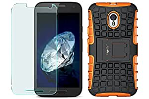 Heartly Rugged Armor Back Case With Protective Tempered Glass For Motorola Moto G3 / Moto G 3Rd Generation / Moto G Turbo - Mobile Orange