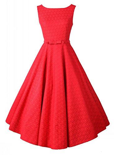 Anni Coco® Mujer Vestido Elegante 1950s Retro Encaje Tejer V-Back Tunica Rojo Small