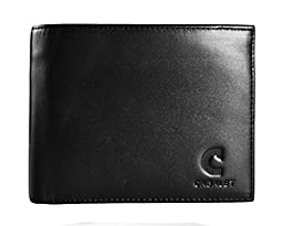 Cabalet RFID Blocking Mens Leather Wallet, Excellent Credit Card Protector- Stop Electronic Pick Pocketing, Security Travel, Black, 8 slots, 2 ID windows