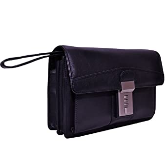 GENT'S WRIST BAG IN COWHIDE LEATHER WITH THREE COMBINATION LOCK Blk D4056L Model