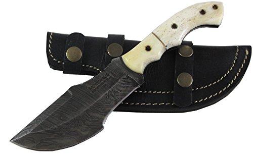 Moorhaus Handmade Raindrop Damascus Camel Bone Tracker Knife with Black Leather Case