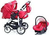 ADBOR Combo Pram Pepe + Car Seat No.27 red / flower