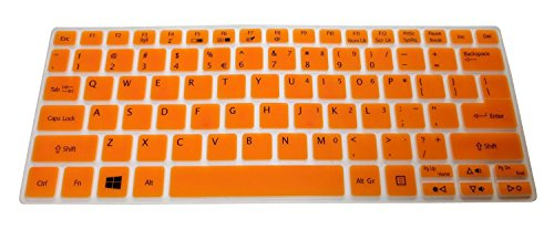 Translucent Orange Ultra Thin Soft Silicone Keyboard Cover Protector Skin Fits Acer Aspire V5-122 V5-122P V5-132 V5-132P E11 E3-111 V3-111P 11.6-Inch Laptop Series Us Layout Compatible Models Listed In Product Description