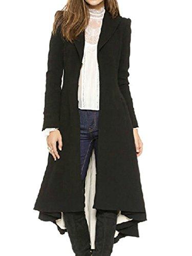 Joeoy Women's Lapel Slim Pleated Swallow-tailed Wool Coat-XXL