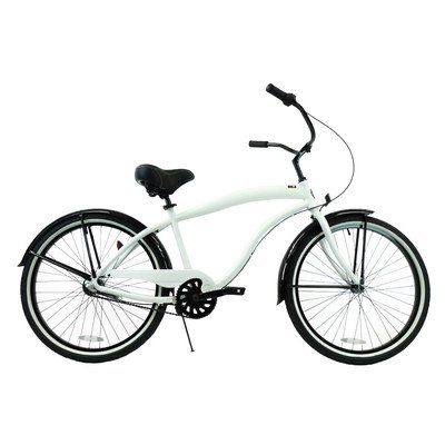 Men's 3-Speed Aluminum Beach Cruiser Frame Color: White with Black Trim