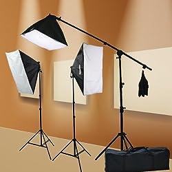ePhoto Digital Photography Video 2400 Watt THREE Softbox Lighting & Boom Hair Light Kit H9004SB2