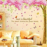 UberLyfe Beautiful Pink Blooming Tree Wall Sticker - 3 Sheet, XL (Wall Covering Area: 250cm x 250cm)
