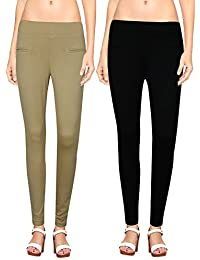 NGT Womens Beige And Black Color Jegging In Special Quality.