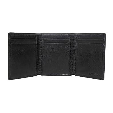 BOCONI Men's Grant RFID Trifold in Black leather w/ gray