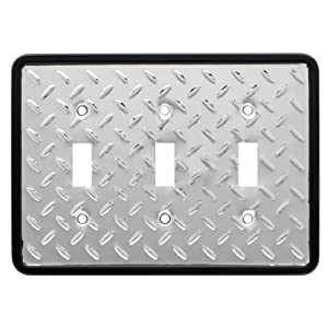 Brainerd 135862 Diamond Plate Triple Switch Wall Plate / Switch Plate / Cover from BRAINERD