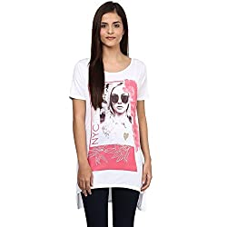 Candies by Pantaloons Women's Other T-Shirt (205000005542444_White_XS)