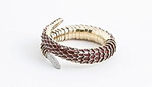 ROBERTO COIN Diamond Gold Red Enamel Cobra Bracelet