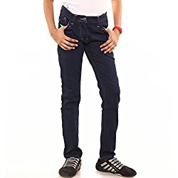 Menthol Girls Denim Lycra Jeans Pant (9-10 Years, Dark Denim)
