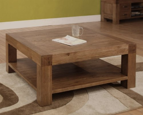 Devon Square Coffee Table Solid Reclaimed Oak Wood Furniture Cheap Coffee Tables