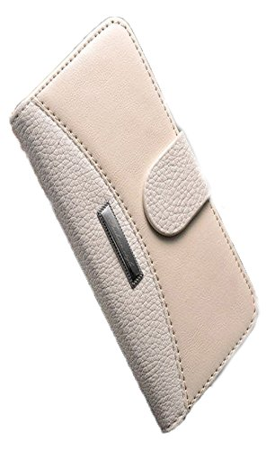 Mylife (Tm) Ivory White - Luxury Design - Textured Koskin Faux Leather (Card And Id Holder + Magnetic Detachable Closing) Slim Wallet For Iphone 5/5S (5G) 5Th Generation Itouch Smartphone By Apple (External Rugged Synthetic Leather With Magnetic Clip + In