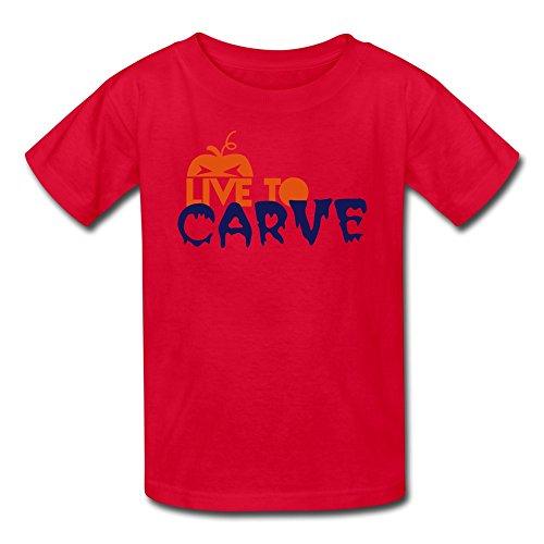 Lzf Boys Live Carve Pumpkin Cotton T-Shirt L Red