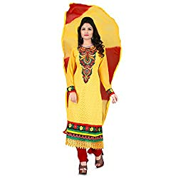 Vardhman Synthetics Women's Embroidered Unstitched Anarkali Dress Material (Yellow_Free Size)