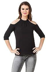 Brand Me Up women Solid Color Cold Shoulder neck 3/4 sleeve tops - S Size (Black)