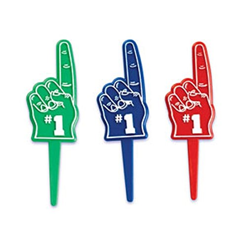 Oasis Supply BC C-710 Number-1 Fan Finger Cupcake Topper Picks, 12-Pack (Number One Finger compare prices)