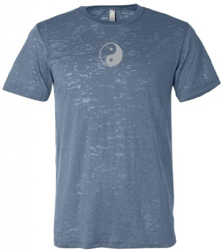 Yoga Clothing For You Yin Yang (Small Print) Mens Burnout Tee, Medium Steel Blue