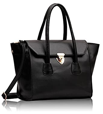 KCMODE Damen Designer Schwarzes Leder Look Twistlock Smart Damen Schulter Tasche Handtasche