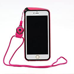 Moonmini Stylish Phone Bumper Frame Case Cover Skin Protector with Hanging Neck Strap Rope for iPhone 6 Plus 5.5 inch - Hot Pink