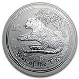 干支虎銀貨 1kg クリアケース入り 2010年製 オーストラリアパース造幣局発行 1000gの純銀 品位:99.9% 《安心の本物保証》【保証書付き・巾着袋入り】 寅 トラ シルバー コイン