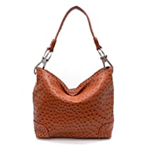 Hot Sale Designer Inspired Simple Classic Hobo Ostrich Finish - Brown