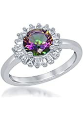 Sterling Silver Mystic CZ Circle Halo Ring