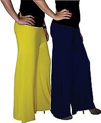 Xarans Sharara Stylish Looking Yellow & Blue Palazzo