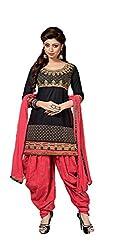 Krishna Fashion Women's Cotton Unstitched Dress Material (hari 1002_Red Black_Free Size)