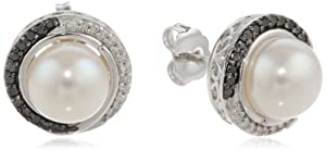 Sterling Silver Freshwater Cultured Pearl with Black and White Diamonds Stud Earrings