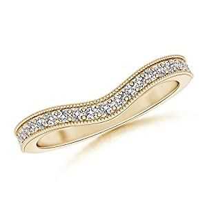 Curved Pave Diamond Wedding Band in 14K Yellow Gold