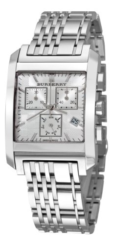 Burberry Men's BU1560 Square Silver Chronograph Dial Watch